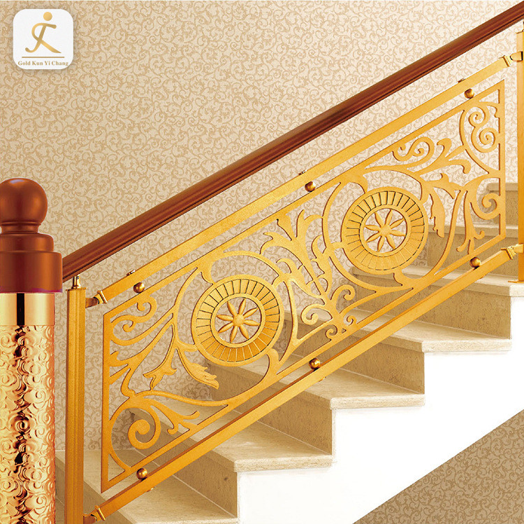 Luxury hotels indoor stainless steel gold baluster malaysia stainless steel designs residential diy stair railing