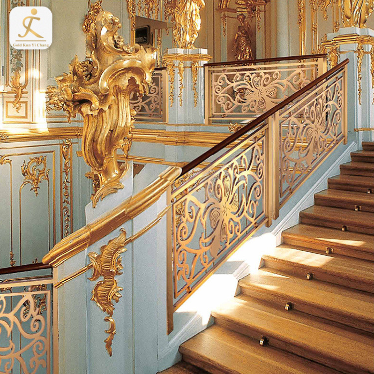 Polished Gold Interior Stainless Steel Stair Railing Systems Modern Metal Stair Banister Rails Handrails For Stairs Interior