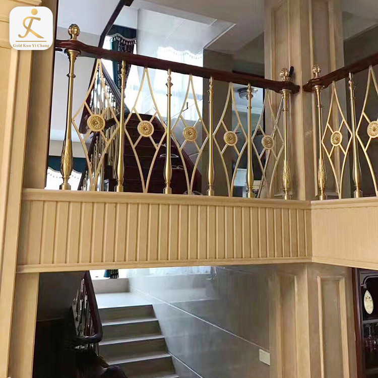 5 star hotel gold plated stair railings wholesale ss decorative balusters for stair interior modern metal railing