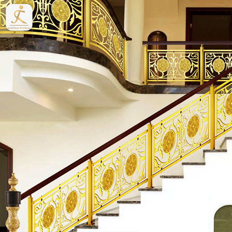 custom Chinese style villa inox brass color balcony railing stainless steel embossed golden balustrades handrails railing