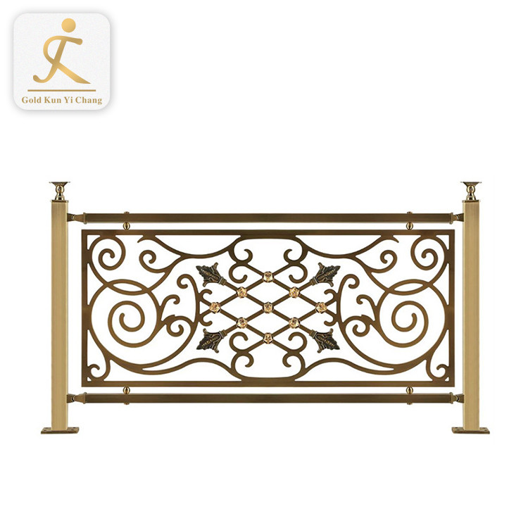 metal balustrades for internal stairs embossed golden flower design stainless steel balustrade for interior stairs and balcony