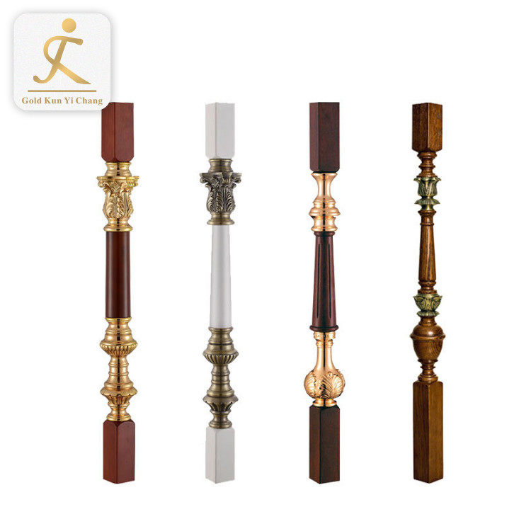 decorative wood look stair post titanium gold crystal acrylic pillar stainless steel crystal glass stair pillar