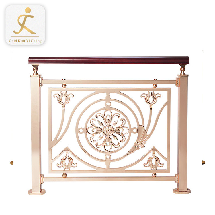 stainless steel hand railings for stairs and decorative stair post indoor premade gold metal embossed slower stair railing