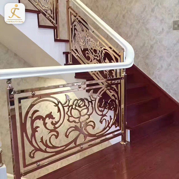 custom gold 304/316 stainless steel handrail/balustrade/stair railing post new contemporary metal stair handrail