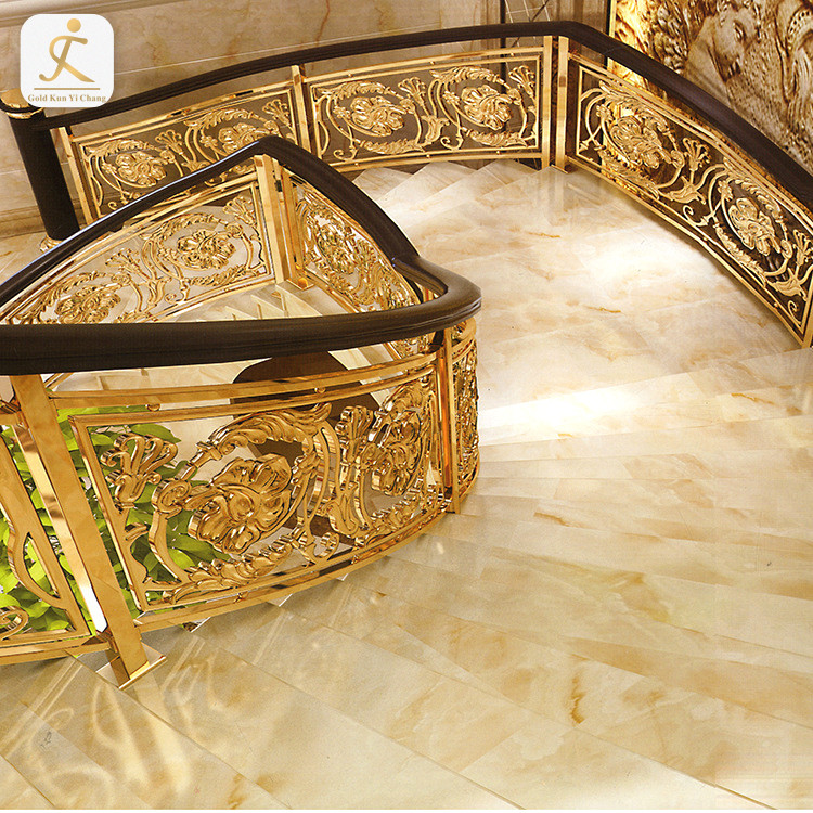 stainless steel 304 staircase railing design golden decorative stainless steel embossed handrail