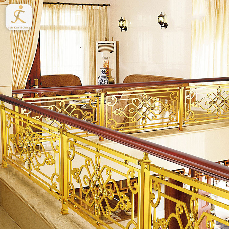 Decorative Luxury Carved Stainless Steel Handrail for Stairs villa luxury custom stainless steel balustrade handrail