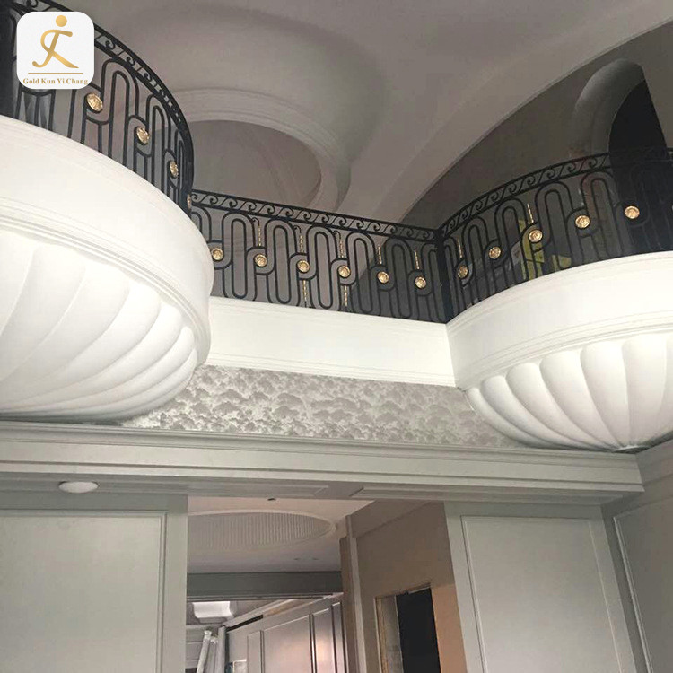 high end decorative brass material staircase handrail design mirror steel hotel safety balcony railing
