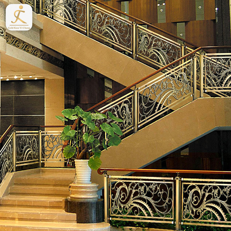 304 steel metal hotel inn lobby staircase balustrade railings curved fancy stairway handrail stair stainless steel balusters