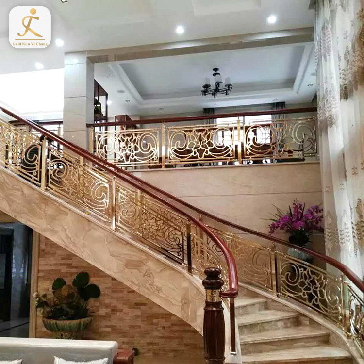 High End Custom Stainless Steel Gold Bent Balustrade Design For Stairs Indoor Luxury Design Balustrade Stair Handrail Railing