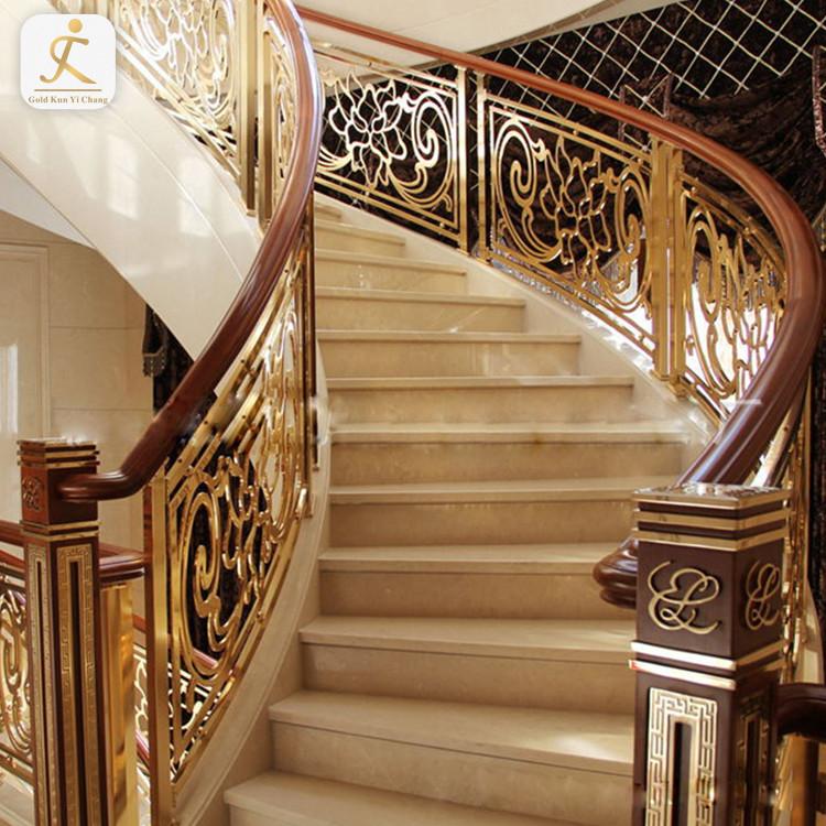 premium hotel golden laser metal cut baluster railing electroplating stainless steel balustrade handrail