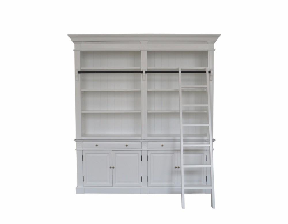 French Country Style Large Bookcase With Ladder W5811S