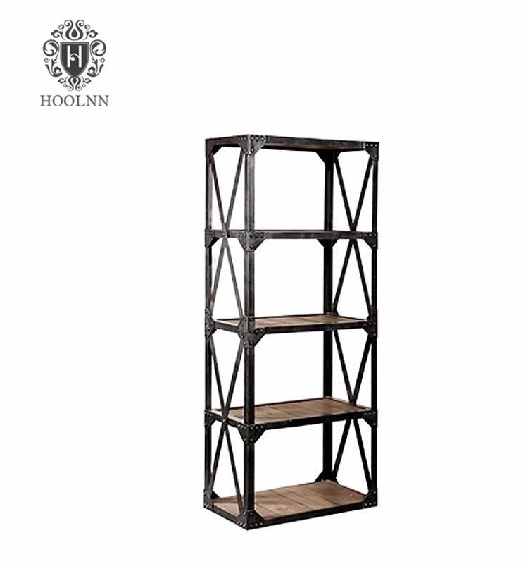 Solid Wood And Metal Bookshelf Vintage Industrial Bookcase HL405
