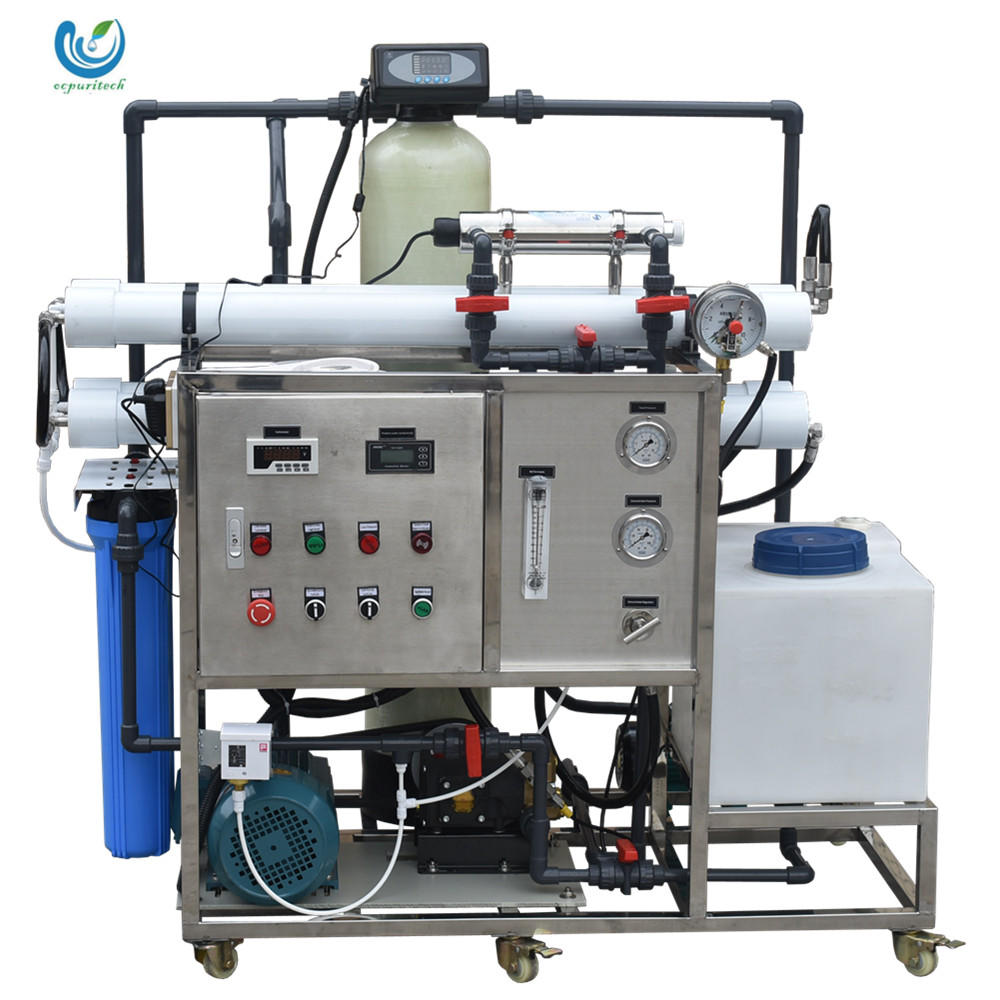 1T/D Blue color moveable salty desalination plant seawater to drinking water machine