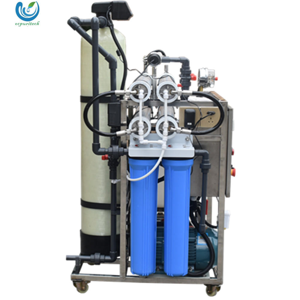 100lph stainless steel container sea water desalination plant remove salt filter