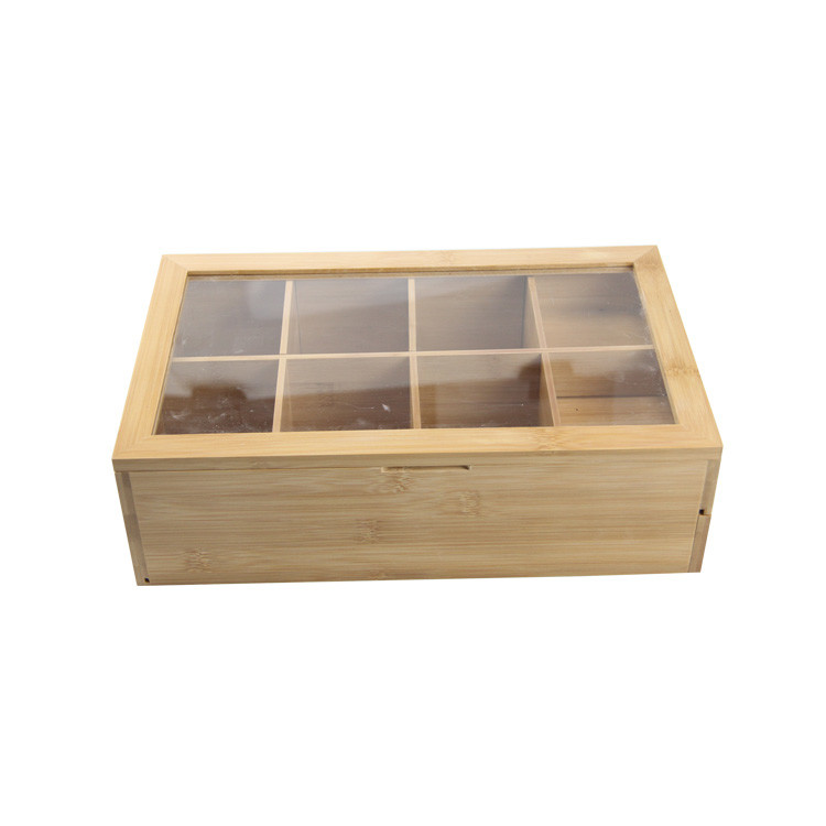 Visible Acrylic Cover Tea Box Packaging Wood