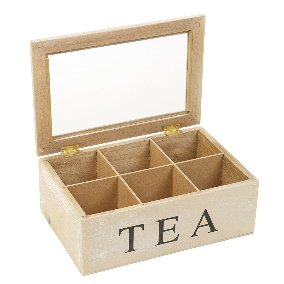 Eco-friendly natural simple useful wood 6 storage tea box packaging size