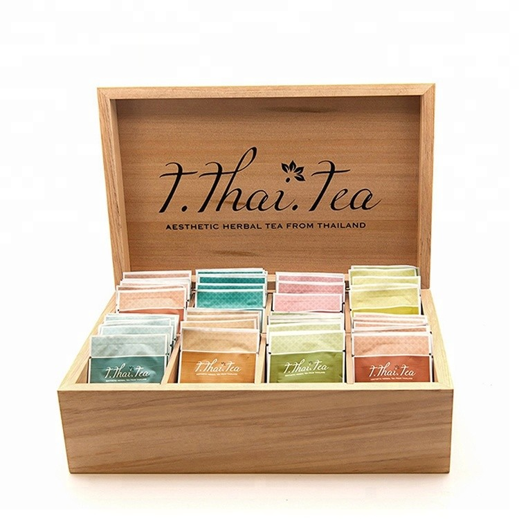 Best price natural MDF black wood tea box with 8 compartments