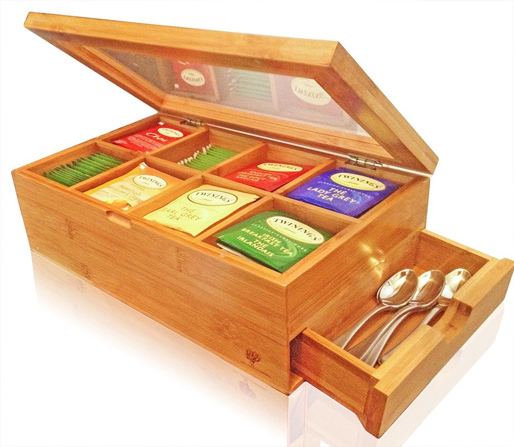 Customized color useful pine wood tea assortment box with drawer
