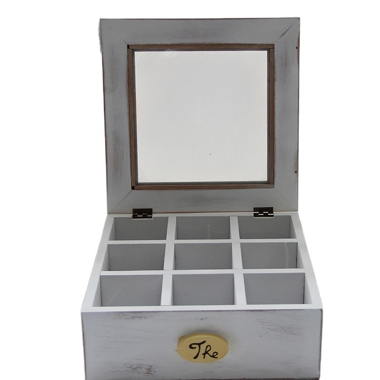Wholesale white wooden tea set storage boxes with glass top