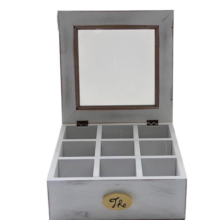 Wholesale white wooden tea set storage boxes with glass top