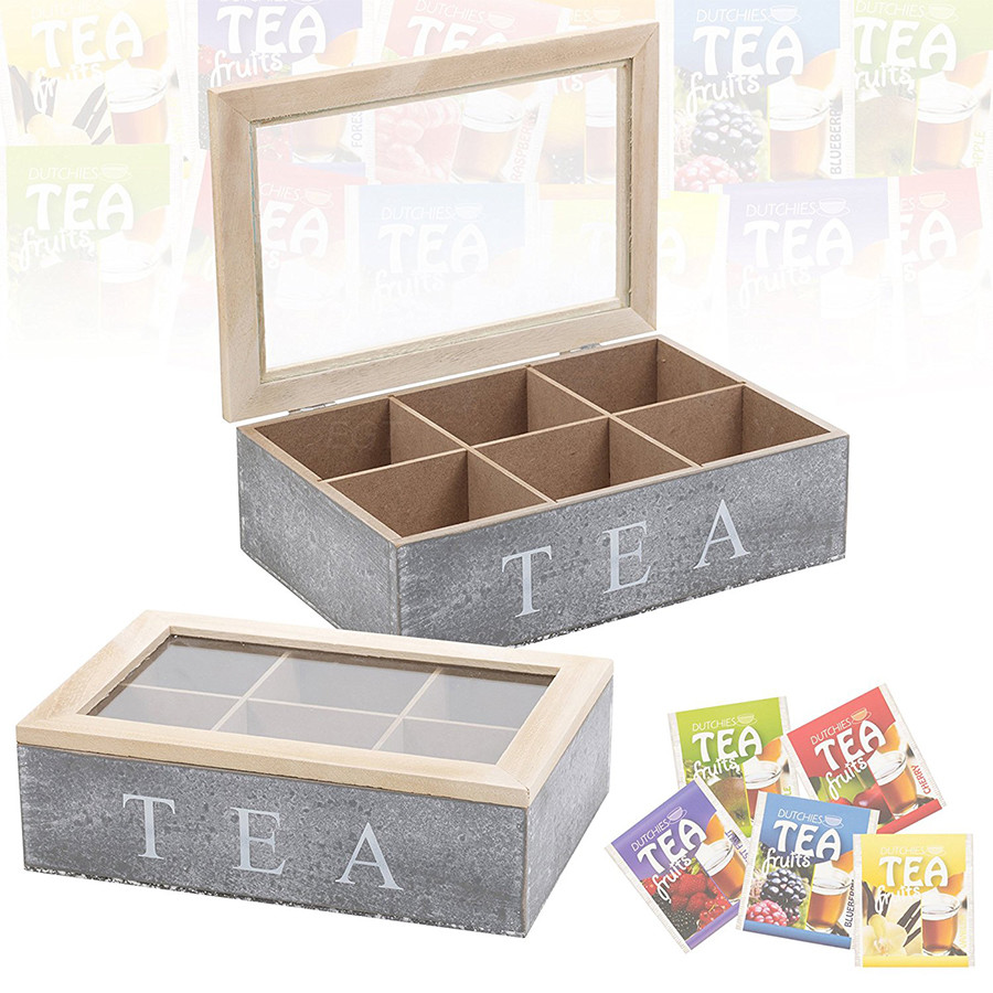 Empty tea box woodtea set storage box with glass top