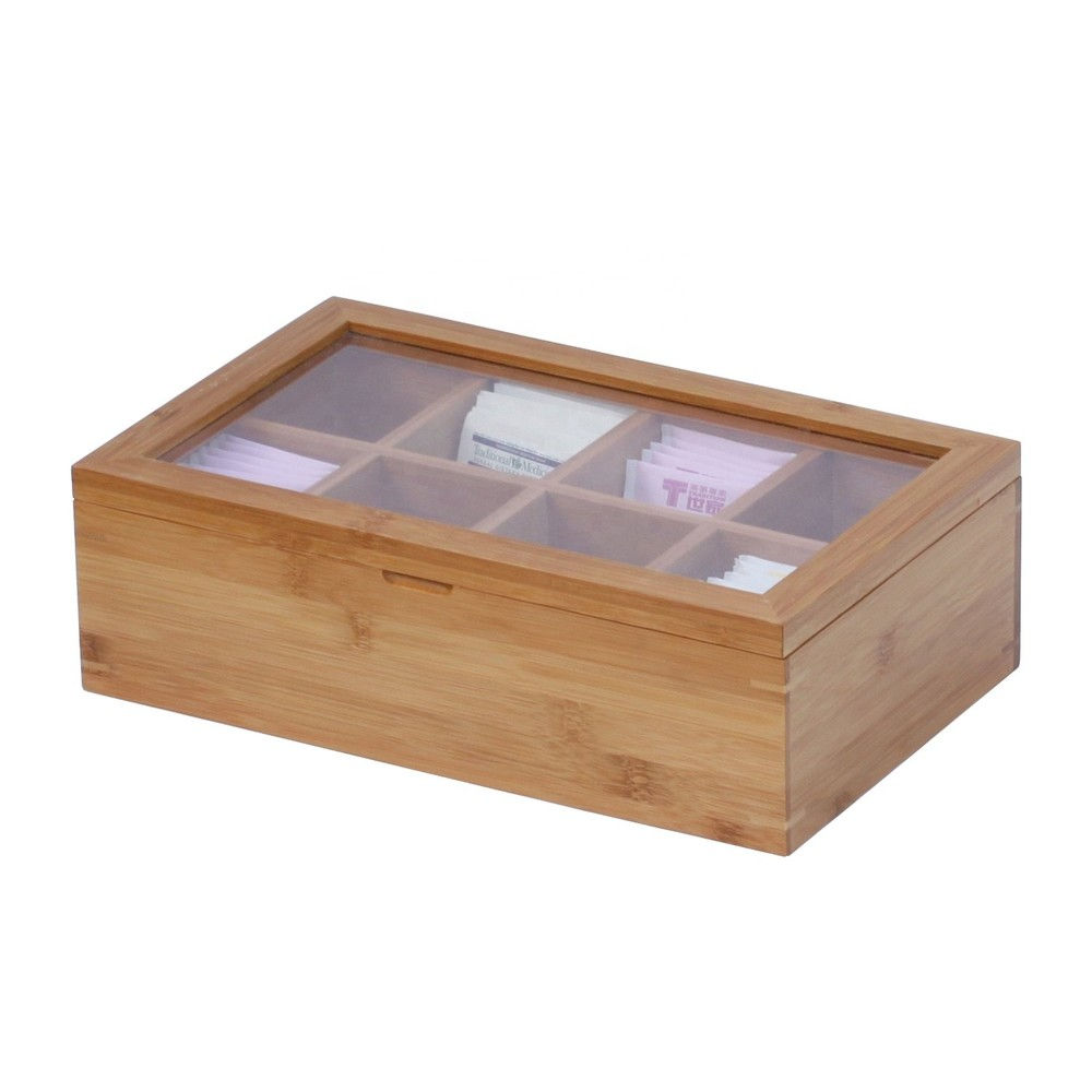 Popular wooden tea coffee chest gift box with 8 compartments