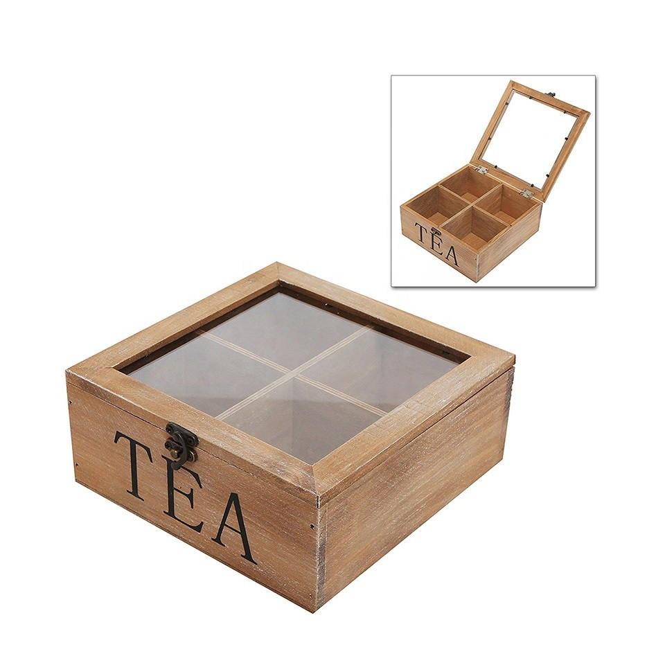 Hot sale Custom empty wooden tea box with glass top