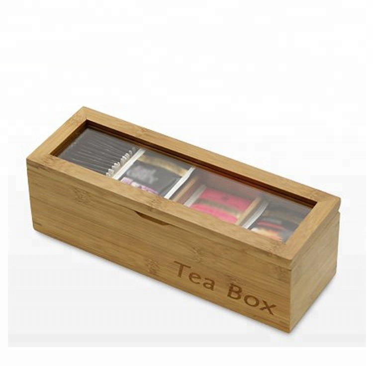 Hot sales vintage chest tea box organizer with glass lid