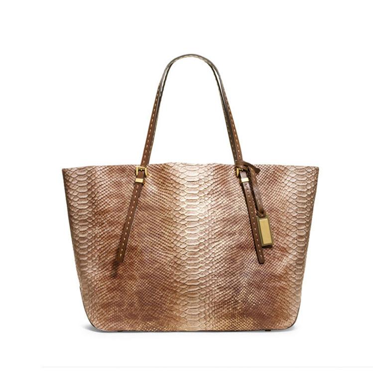 New Fashion Large Snake-Embossed Leather Shoulder Tote Bag