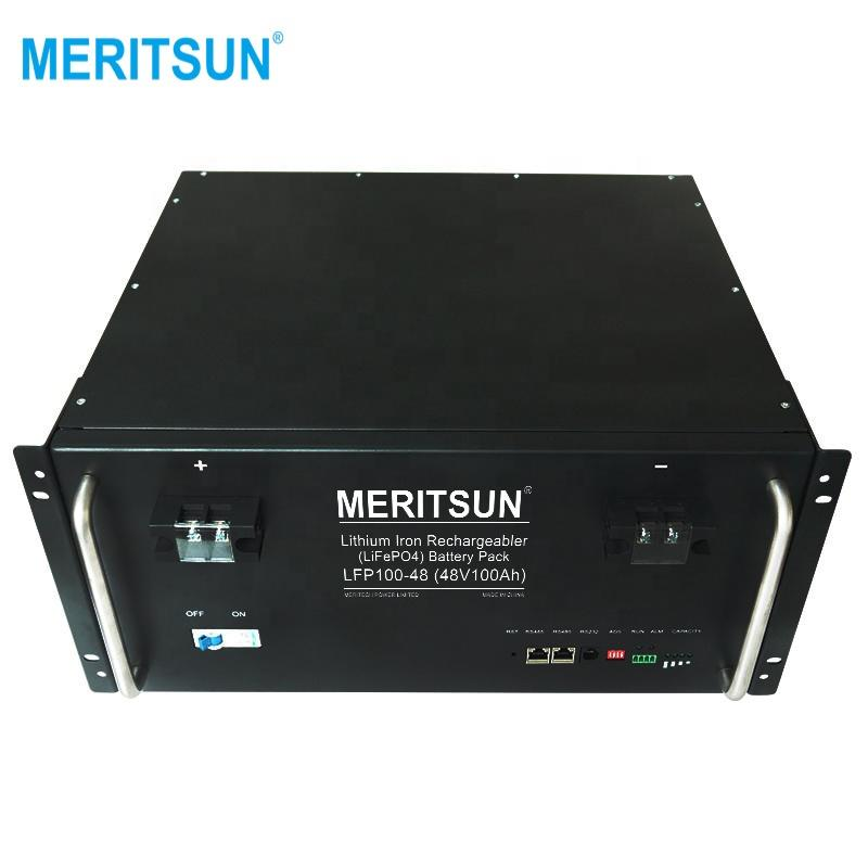 Lithium Battery with RS485 Lithium Iron Long Life 6000cycles Phosphate 5kw 10kwh 24 Volt 48v Free Customized MERITSUN Lifepo4