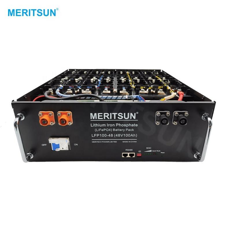 MeritSun Rack Mount Rechargeable Lithium Battery 48V 100Ah Lifepo4 Battery Pack