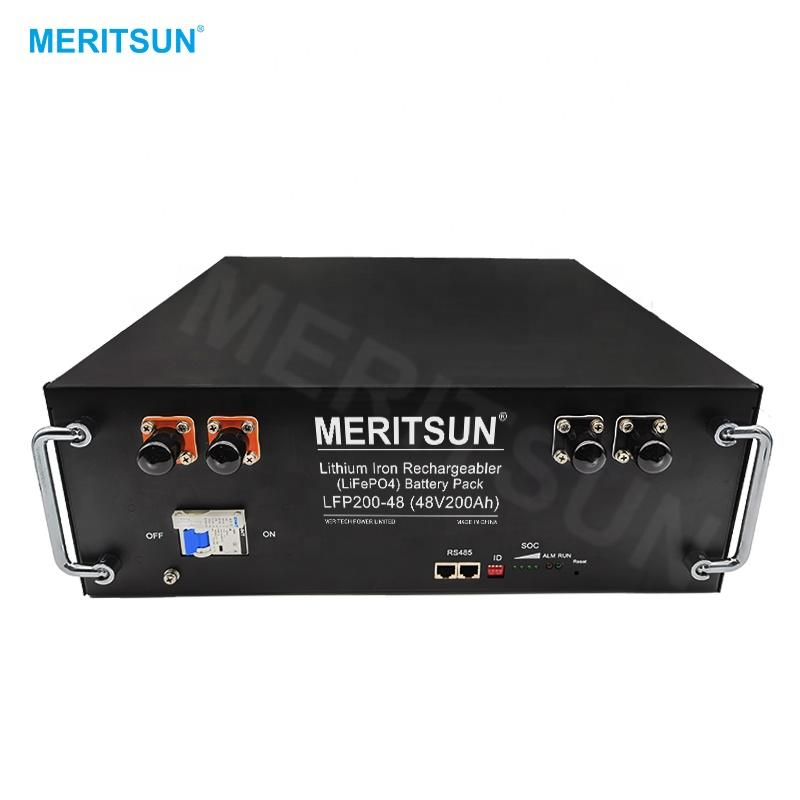 MeritSun Lithium iron Battery 48v 200ah Rechargeable Battery Solar Lithium ion Batteries
