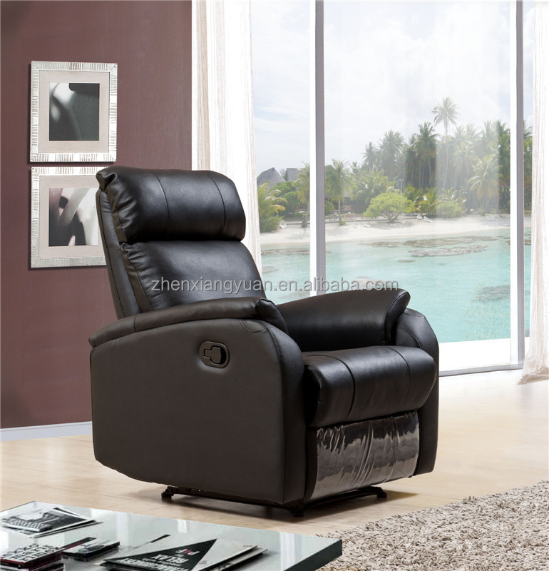 Black color genuine leather reclining chair/ cinema chair /rocking chair SF3766