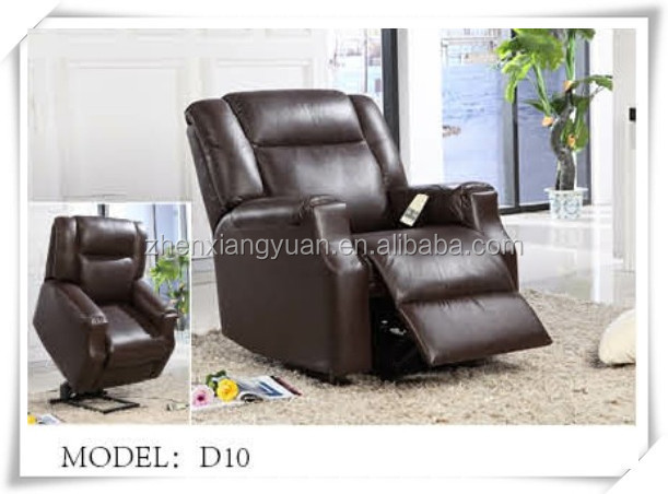 Lazy boy dark brown leather electric lift recliner chair for old man
