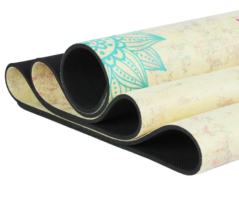 Natural Rubber Suede Yoga Mat Heath Yoga Deerskin Body Alignment Lines Durable Rubber Fitness Gymnastics Mats 1.5mm