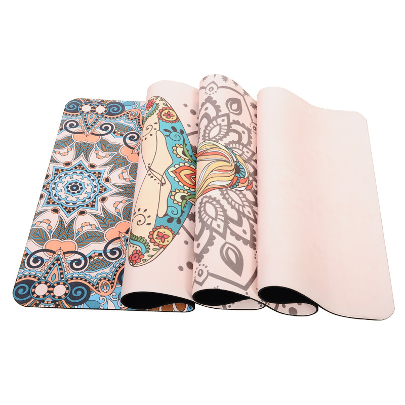 Tigerwings high quality anti slip folding suede rubber yoga mat with custom print