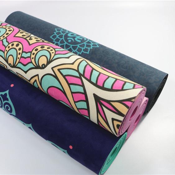 Tigerwings Custom image printed logo suede ultrathin portable folding yoga mats
