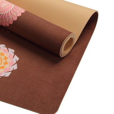 Natural Rubber Suede Yoga Mat non-slip with Body Alignment Lines Durable Rubber