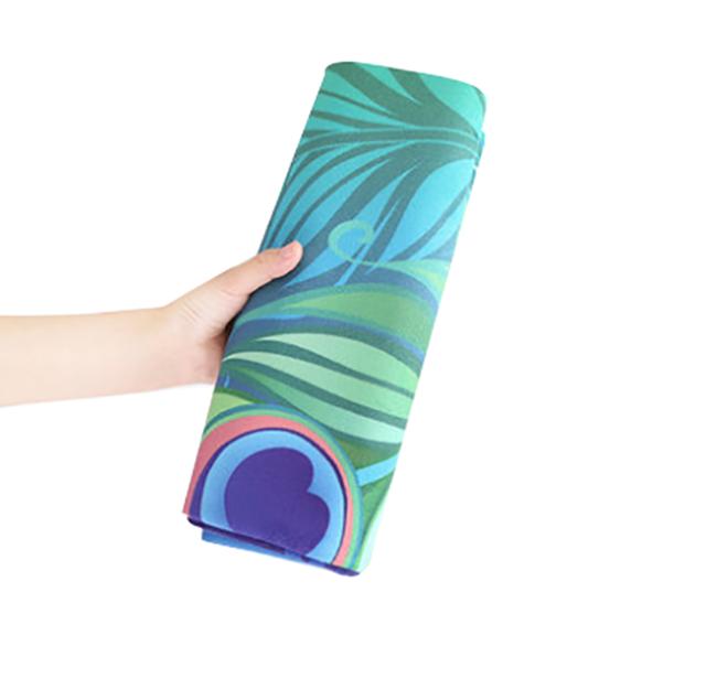 Custom design microfiber suede yoga mat, foldable yoga towel eco
