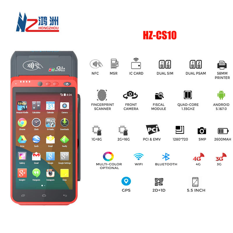 EMV PCI Certified Android 7.0 OS All-in-one POS Terminal/Biometric POS Device