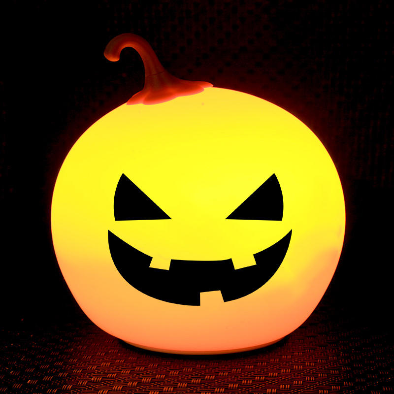 7 colors Pumpkin Touch Sensor Tap Control battery Helloween night light For Children Baby Kids Lamp Multicolor Silicone
