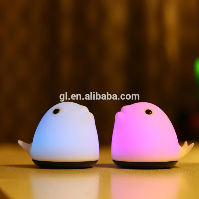 Bedroom Atmosphere Lamp Rechargeable Hand Pat Touch Control silicone gel Whale Cartoon Night Light