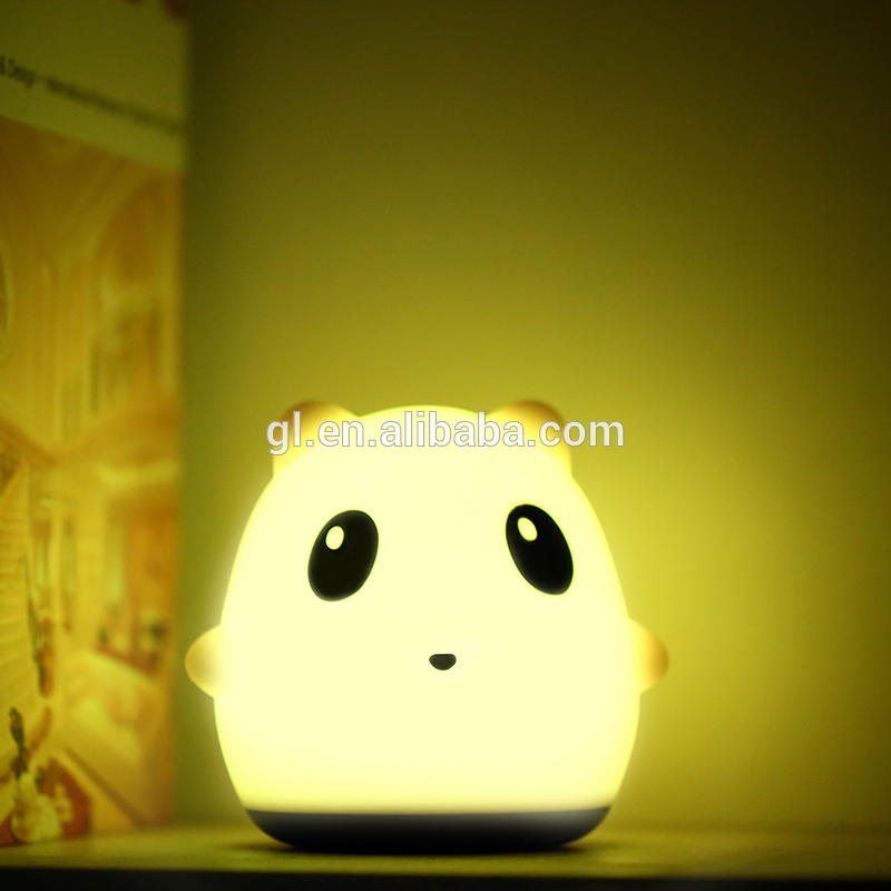 Bedroom Atmosphere Lamp Hand Pat Touch Control Color Changing Rechargeable LED Silicone Gel Night Light panda shape
