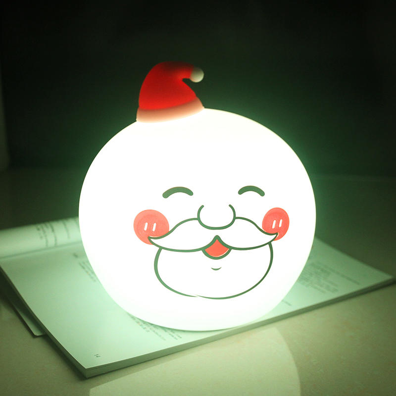 LED OEM Creative Santa Claus Touch Tap Control battery Christmas night light For Children Baby Kids Lamp Multicolor Silicone