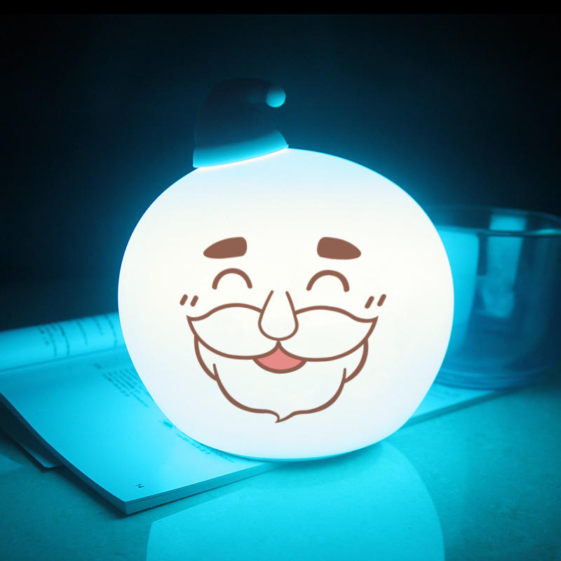 LED Creative Santa Claus Touch Sensor Tap Control battery Christmas night light For Children Baby Kids Lamp Multicolor Silicone