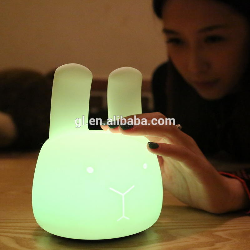 MINI Colorful Silicone Smart Cute rabbit Animals Night Lights Lamp with Touch and Button Switch