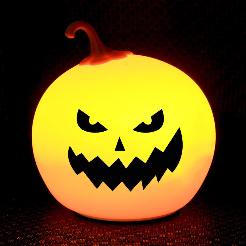 New style OEM 7- color Silicone Pumpkin Helloween Touch Tap Control battery night light For Children Baby Kids Lamp