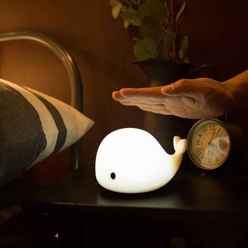 MINI Colorful Silicone Smart Cute Dolphin Animals Night Lights Lamp with Touch and Button Switch