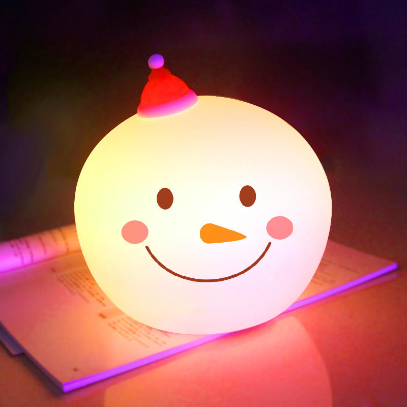OEM 7 colors LED Creative Snowman Touch Sensor Tap Control Christmas night light For Children Baby Kids nursery