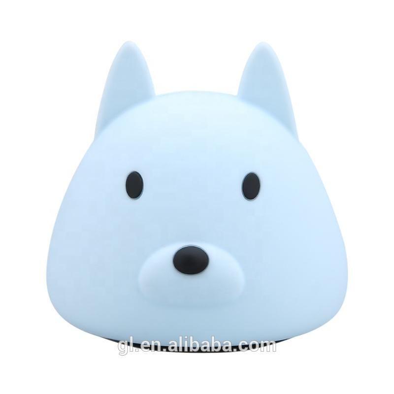 LED Creative dog shape Touch Sensor Tap Control battery night light New style For Children Baby Kids Lamp Multicolor Silicone